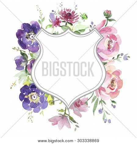 Bouquet Floral Botanical Flowers. Watercolor Background Illustration Set. Frame Border Ornament Squa