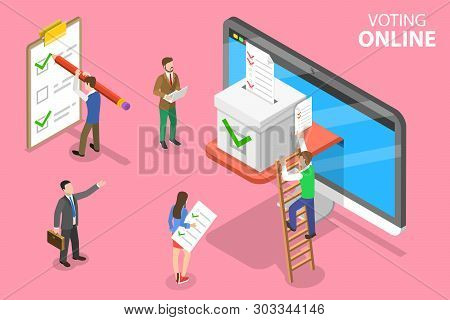 Isometric Flat Vector Concept Of Online Voting And Election, E-voting.