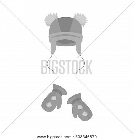 Vector Design Of Hat  And Pompom Icon. Collection Of Hat  And Kids   Stock Symbol For Web.