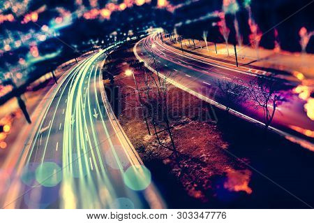 Abstract Background Of City And Highway. Traffic And Speed At Night.car And Speed Abstract Concept