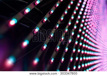 Lights Led Bulb Detail. Close Up Panel Of Stage Lighs Equipment.led Screen Detail