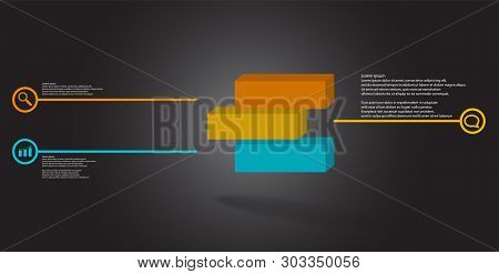 3D Illustration Infographic Template With Embossed Cube Divided To Three Shifted Parts