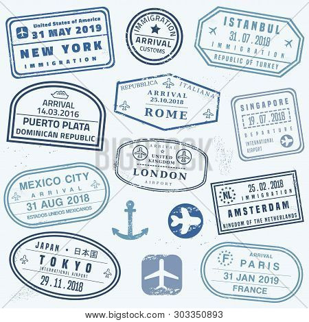 Vector Passport Stamp Set - Novelty Passport Stamps Collection.