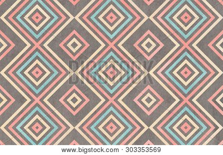 Watercolor Geometrical Pattern In Light Pink, Blue, Gray And Beige Color. For Fashion Textile, Cloth