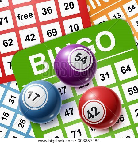 Bingo Balls On A Background Of Cards. Vector Illustration