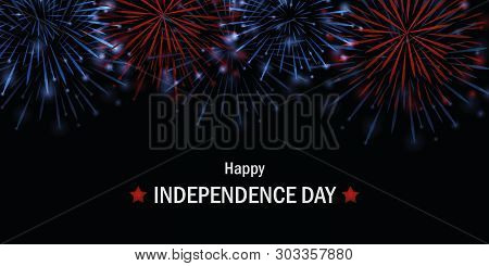Happy Independence Day Usa Firework In Blue And Red Colors Vector Illustration Eps10