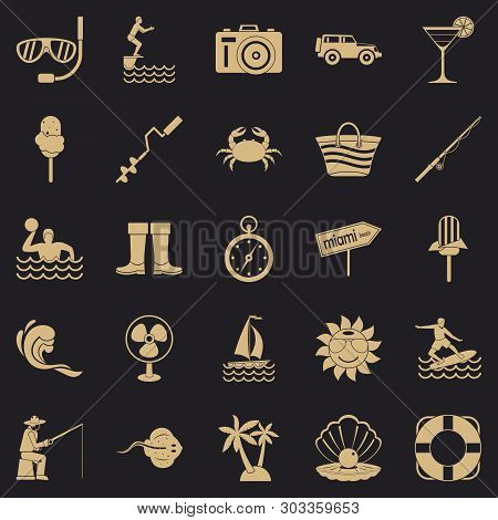 Azure Coast Icons Set. Simple Set Of 25 Azure Coast Vector Icons For Web For Any Design