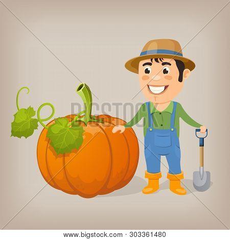 Happy Farmer With A Shovel Next To A Huge Pumpkin. Cartoon Vector Illustration.