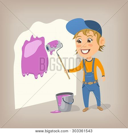 Happy Woman Painter Paints The Wall With A Paint Roller. Cartoon Vector Illustration.