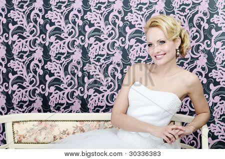 Bride Smiling Sitting Bench