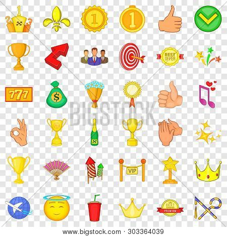 Victory Icons Set. Cartoon Style Of 36 Victory Vector Icons For Web For Any Design