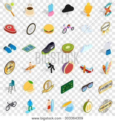 Award Icons Set. Isometric Style Of 36 Award Vector Icons For Web For Any Design