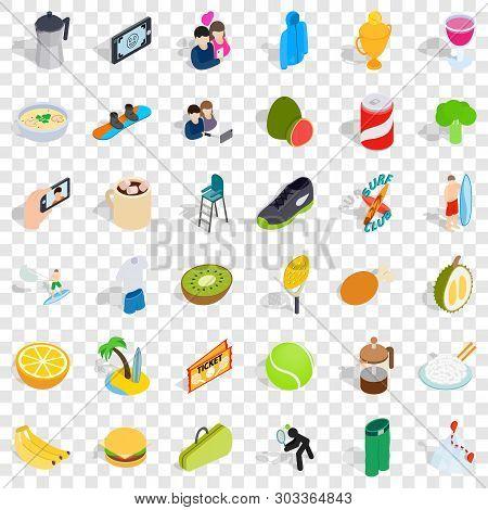 Vigorous Icons Set. Isometric Style Of 36 Vigorous Vector Icons For Web For Any Design