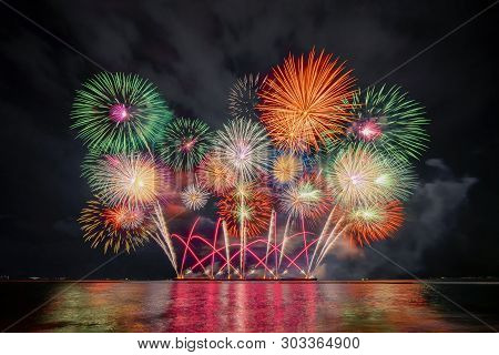Pattaya International Fireworks Festival In Chonburi, Thailand. Variety Of Colorful Fireworks In Hol