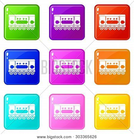 Compartment Carriage Icons Set 9 Color Collection Isolated On White For Any Design