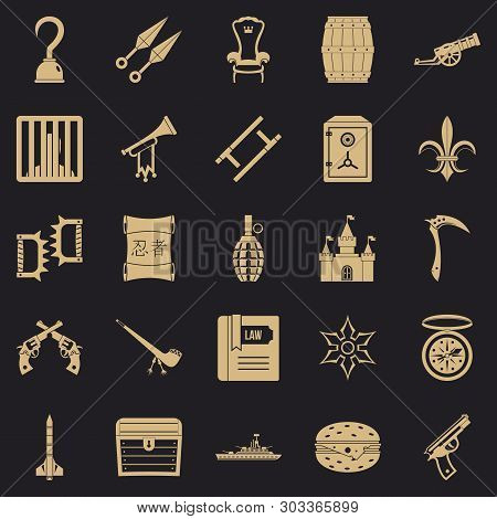 Armament Icons Set. Simple Set Of 25 Armament Vector Icons For Web For Any Design
