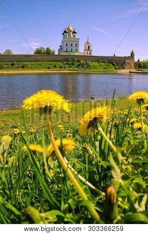 Pskov Kremlin and Velikaya river the Great and Pskov in the evening. Russia. poster