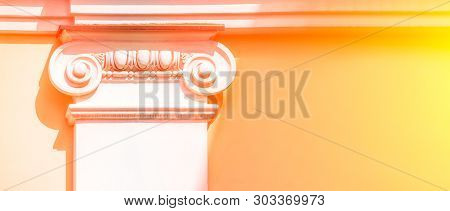 White Capital At The Top Of The Column. Beautiful Architectural Element. Corinthian Order. The Upper