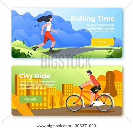 Vector Set Of Bright Banner Templates With Riding Girl And Man. City, Forest, River And Mountains On