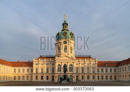 Berlin, Germany. February 19, 2019. Charlottenburg Palace And Statue Of Friedrich Wilhelm I. Charlot