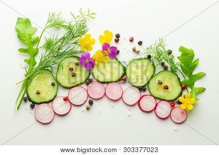 Ingredients For The Salad: Cucumber, Radish, Dill, Arugula, Peppercorns, Top View. Flat Lay Healthy
