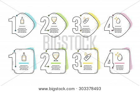 Whiskey Bottle, Water Bottle And Wine Glass Icons Simple Set. Water Drop Sign. Scotch Alcohol, Still