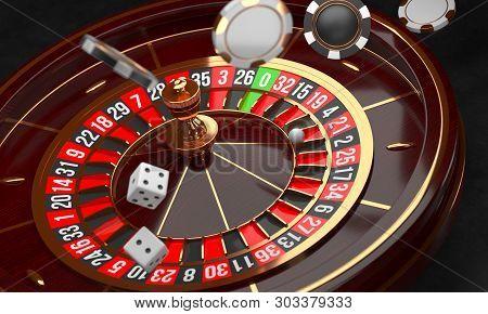 Casino Background. Luxury Casino Roulette Wheel On Black Background. Casino Theme. Close-up Wooden C