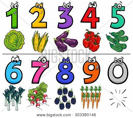 Cartoon Illustration Of Educational Numbers Collection From One To Nine With Vegetables Food Objects