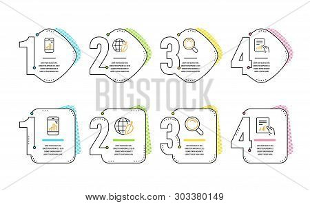 Search, Graph Phone And Environment Day Icons Simple Set. Document Sign. Magnifying Glass, Mobile St