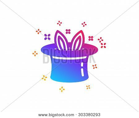 Hat-trick Icon. Magic Tricks With Hat And Rabbit Sign. Illusionist Show Symbol. Dynamic Shapes. Grad