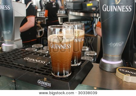 Dublin, Ireland - June 19, 2008: Two Pints Of Beer Served At The Guinness Brewery On June 19, 2008.