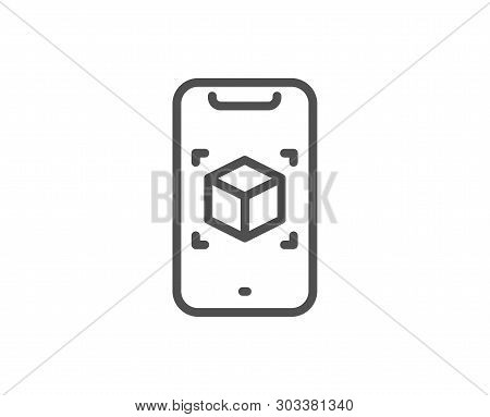 Augmented Reality Phone Line Icon. Vr Simulation Sign. 3d Cube Symbol. Quality Design Element. Linea