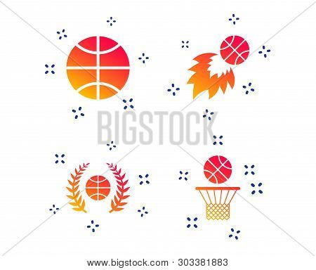 Basketball Sport Icons. Ball With Basket And Fireball Signs. Laurel Wreath Symbol. Random Dynamic Sh