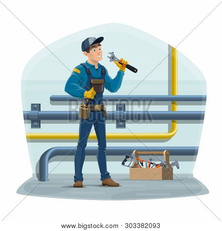 Plumber And Water Pipes, Plumbing Repair Service Worker With Work Tools. Vector Plumber, Water And G