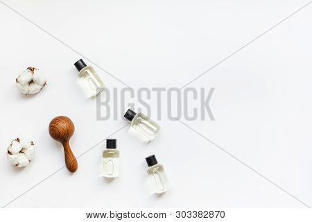 Massage And Body Care Treatment Concept With Copy Space. Creative Top View Flat Lay Composition With
