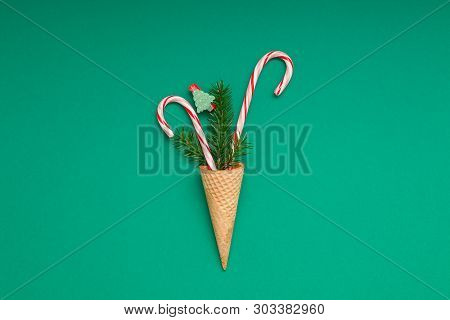 New Year Christmas Xmas Holiday Party Celebration Waffle Cone Candy Canes Fir Tree Branch Copy Space
