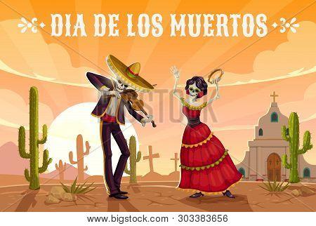 Day Of The Dead Mexican Holiday Dancing Skeletons In Sombrero. Dia De Los Muertos Religion Festival