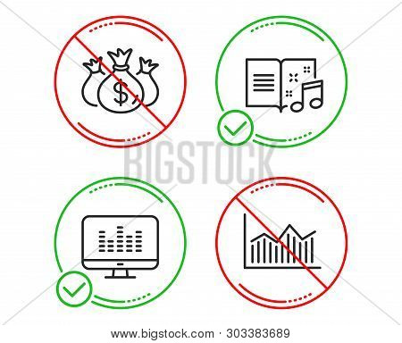 Do Or Stop. Check Investment, Music Book And Music Making Icons Simple Set. Money Diagram Sign. Busi