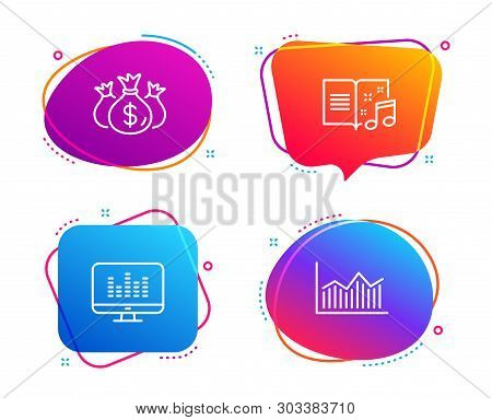 Check Investment, Music Book And Music Making Icons Simple Set. Money Diagram Sign. Business Report,