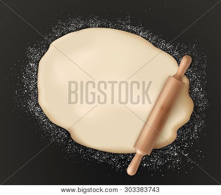 Rolled Pastry Dough And Rolling Pin On Black. Vector Pizza Dough Sprinkled With Flour, Bakery Food P