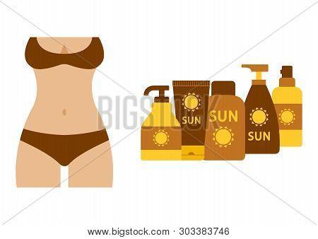 Sunburnt Female Silhouette In Swimsuit, Set Of Sunscreen And Suntan Cream Or Oil. Vector Illustratio