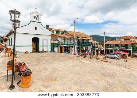 Paipa, Colombia  May 23  Frontal View Of Rosary Church In Paipa Village Built In 1500 It Is Located