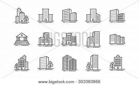 Buildings Line Icons. Bank, Hotel, Courthouse. City, Real Estate, Architecture Buildings Icons. Hosp