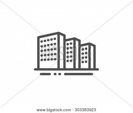 Buildings Line Icon. City Architecture Sign. Skyscraper Building Symbol. Quality Design Element. Lin