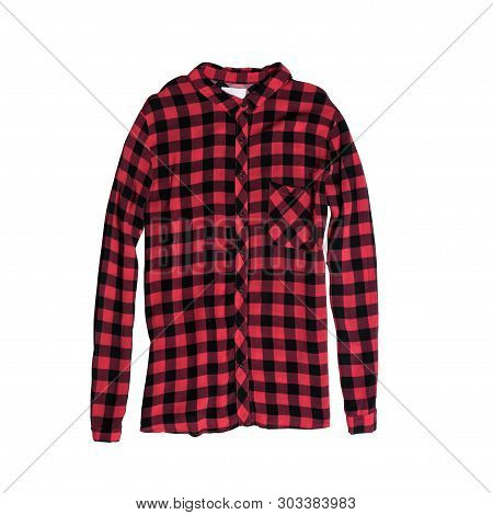 Fashion Clothes. Red Checkered Shirt Isolated On White Background.