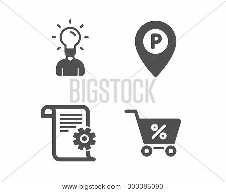 Set Of Technical Documentation, Education And Parking Icons. Special Offer Sign. Manual, Human Idea,