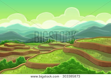 Chinese Rice Fields In Mountain Landscape, Plantation On Cascade Field, Terraced Agriculture. Vector