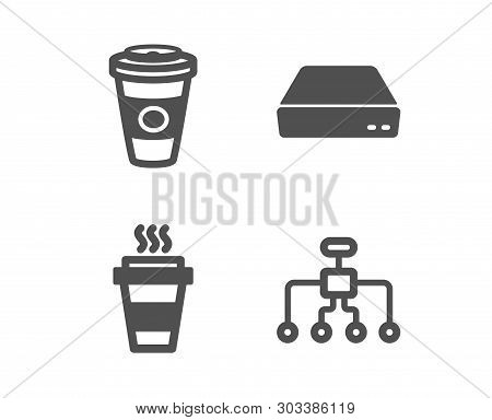 Set Of Takeaway, Mini Pc And Takeaway Coffee Icons. Restructuring Sign. Takeout Coffee, Computer, Ho