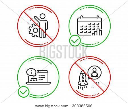 Do Or Stop. Employee, Calendar Graph And Online Documentation Icons Simple Set. Startup Sign. Cogwhe
