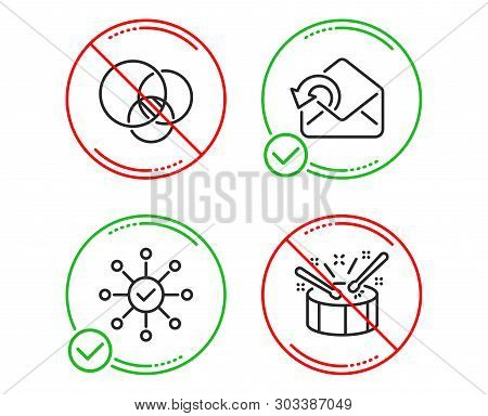 Do Or Stop. Euler Diagram, Send Mail And Survey Check Icons Simple Set. Drums Sign. Relationships Ch